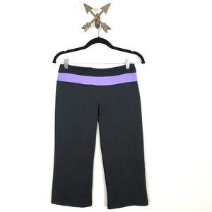 Black Cropped Leggings purple band
